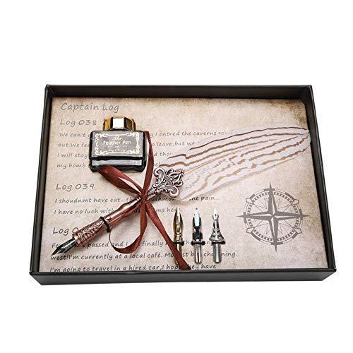 Pluma estilográfica clásica de gama alta, pluma estilográfica, pluma estilográfica, juego de botellas de tinta, papelería, caja de regalo para cumpleaños LCMUS (color: blanco, tamaño: libre)