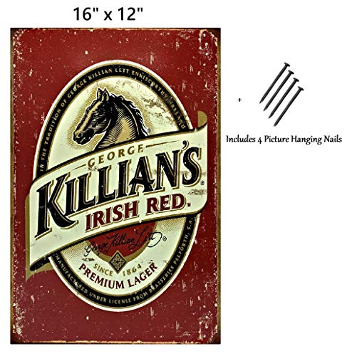 UNiQ Designs Killians Beer Sign Killians Irish Red Vintage Metal Beer Tin Signs Bar Signs Vintage Beer Wall Decor Alcohol Signs Beer Funny Signs for Bar Beer Decorations Bar Sign Decor 16x12
