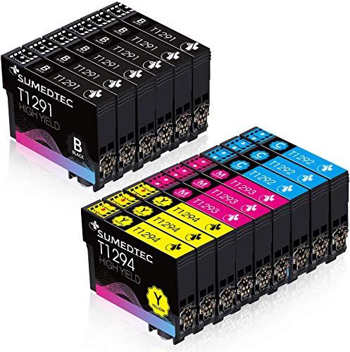 SUMEDTEC T1295 15 Tinta Compatible para Epson T1291 T1292 T1293 T1294 Compatible con Epson Stylus SX235W SX445W SX425W SX430W SX435W SX535WD BX305FW Plus WF-7515(6 Negro,3 Cian,3 Magenta,3 Amarillo)