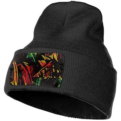 NA Unisex Beanie Jamaica Hipster Reggae Rasta Acryl Totenkopf Strickmütze Slouchy Cap Soft Headwear schwarz