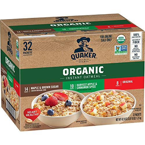 Quaker Instant Oatmeal USDA Organic NonGMO Project Verified 3 Flavor Variety Pack Individual Packets 32 Count