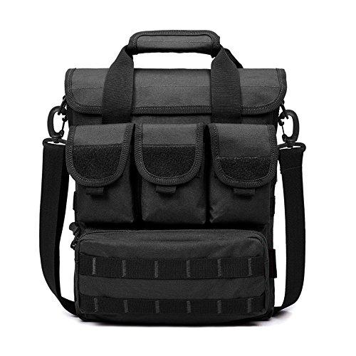 GES Tactical Briefcase Molle Laptop Bag Messenger Engineers Borsa Oxford Military Toolkit Borsa a Tracolla Sling Crossbody Bag Tasche Multiple e Scomparti con Tracolla (Nero)