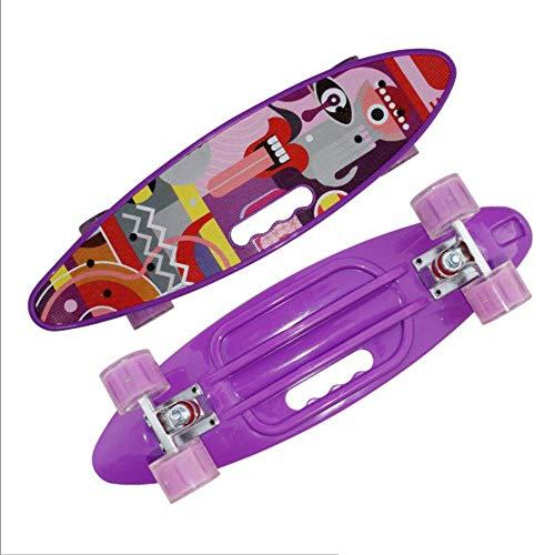 JJSFT 24 Pulgadas Skate Tablero Portátil Peces Pequeños Niños Placa Adulto for Principiantes Brillante Neumático Cuatro Ruedas Scooter Adulto/Juventud/Scooter (Color : White)