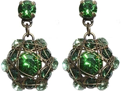KONPLOTT KONPLOTT Ohrhänger Bended Lights Messing für Damen aus geschliffenen Glassteinen in Smaragdgrün