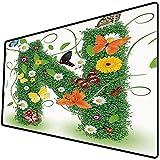 Tappetino per mouse da gioco [600x300 x 3 mm],Lettera N, camomilla margherita fiori di gerbera e foglie verdi farfalle colorate natura decorativa, Base antiscivolo 45x45cm