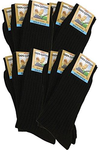 Herren-Socken aus, gerippt, 100% reiner Baumwolle, damit Ihre Füße atmen und absorbieren können Gr. 40/45 DE, Schwarz