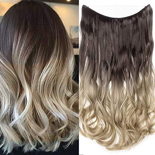 Haarteil Extensions Ombre 1 Tresse günstig Haarverlängerung Synthetische mit Draht Haarextensions für Haarverdichtung Gewellt Hair 20