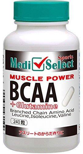 メディセレクト スポーツ BCAA+グルタミン 分岐鎖アミノ酸(バリン ロイシン イソロイシン)筋肉のエネルギ...