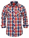 Plaid Casual Shirts for Men Red Checkered Shirt