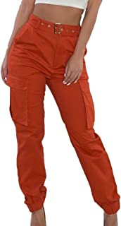Women Casual High Waist Cargo Pants Active Loose Fit...