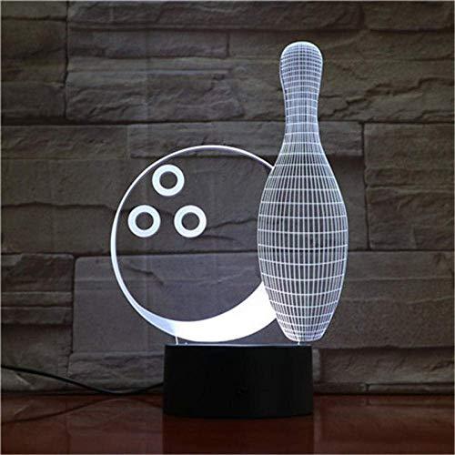 3D-Illusionslampe LED Nachtlicht Bowlingkugel Klein 7 Farben Remote Touch Kreative Kleine Kinderzimmer Tischlampe Beste Geburtstagsgeschenke Kinder