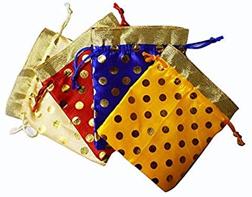 Silk Brocade Jewelry Pouch Bag, Drawstring Coin Purse, Gift Bag Value Set (Set of 12)
