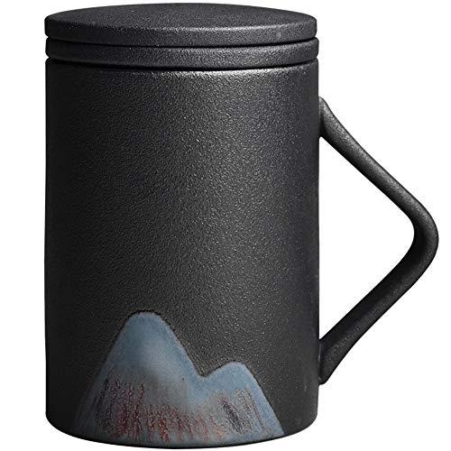 L-entcy Taza de cerámica con mango Taza de café con doble filtro negro Taza creativa Filtrada Taza de té de cerámica con tapa Copa de color esmaltado Taza de agua de gran capacidad 270ml