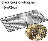 Baking Tools dickes großes Crypto-Brotkühlgitter, antihaftbeschichtet, für Kuchen, Kekse, 46 x 26 cm, Schwarz / goldfarben Schwarz