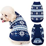 KOOLTAIL Cable Knit Dog Sweater Turtleneck, Warm & Comfortable Dog Cold Weather Clothes with Snowflake Pattern, Classic Knitwear Dog Winter Coat Outfits for Small Medium Large Dogs
