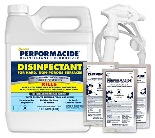 Performacide Hospital & Home Disinfectant Gallon Kit- Just Add Water - No Rinse, No Wipe, No Residue - EPA Registered - Makes 3 Gallons