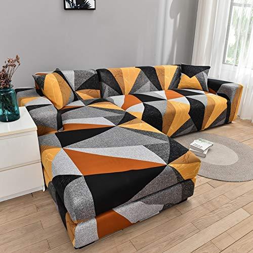 ASCV Funda de sofá geométrica Funda de sofá Fundas de sofá elásticas para la Esquina de la Sala de Estar Chaise Longue en Forma de L Sillón Sofá Funda A6 3 plazas