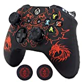 Xbox One Controller Skin, BRHE Anti-Slip Silicone Cover Protector Case Accessories Set for Microsoft Xbox 1 Wireless/Wired Gamepad Joystick with 2 Thumb Grips Caps (Red)