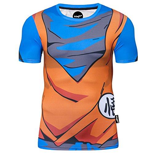 Fringoo maglietta da uomo, a compressione, ideale come maglia intima o come maglietta per allenamento e corsa, a maniche corte, termica, motivo supereroe Dragon Ball - T-shirt L