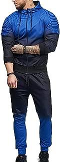 Mens Gradient Sweatshirt Sweatpants Set Sports Suit Tracksuit Blue US X-Small