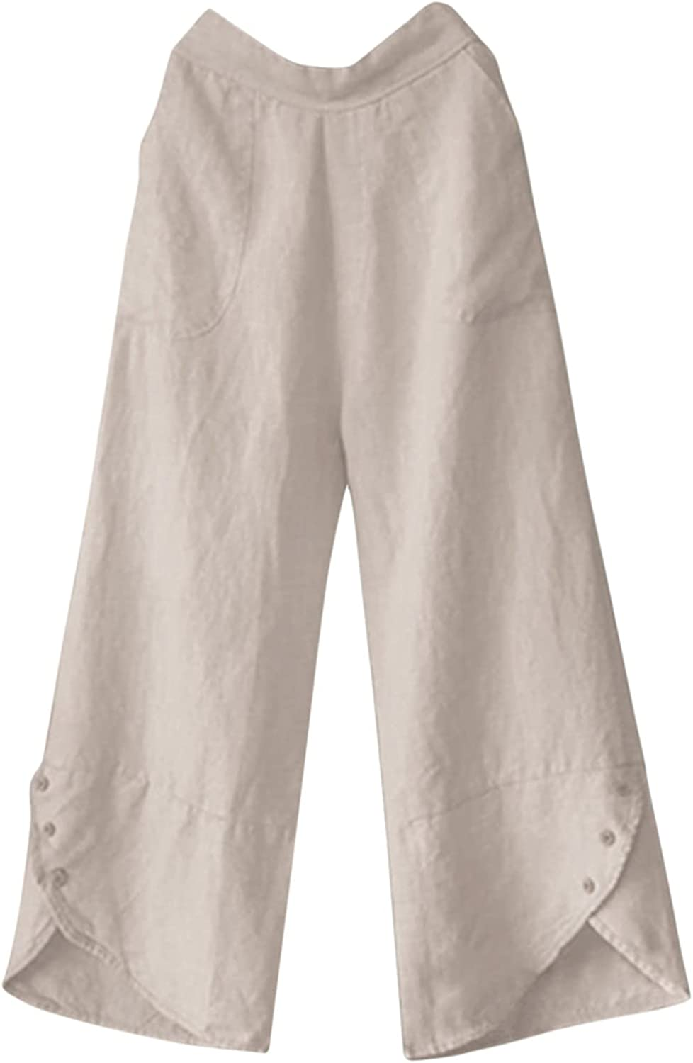 Cotton Linen Pants for Womens Casual 4 years warranty Solid Wai Elastic High Rise Complete Free Shipping