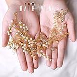 Handcess, cerchietto decorativo da sposa con perline, a forma di rampicante, con foglie dorate e cristalli, di colore oro