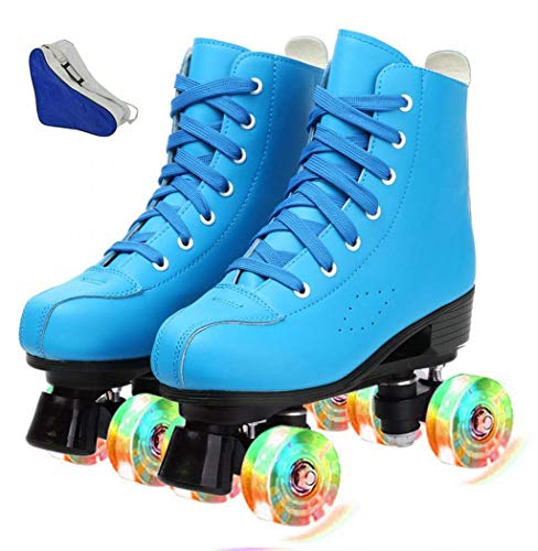 Women's Roller Skates, Adjustable PU Leather High Top Skates, Classic Shiny Roller Skates for...