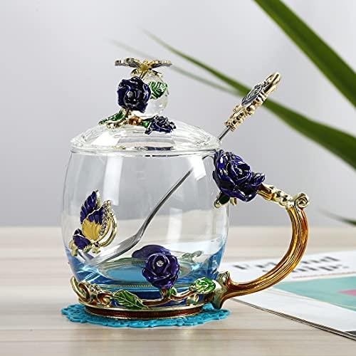 Heliansheng Taza de Esmalte de Estilo Europeo Creativo con Tapa de asa Caja de Regalo de Taza de Color Esmalte de Regalo -A74-Caja de Regalo