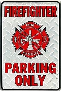 Firefighter Parking Only Embossed Metal Novelty Parking Sign SP80010 - 8