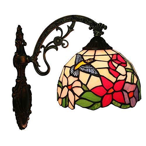 MTTK Vintage Style Tiffany Mur Lampe Colibri Fleur conçu Verre Mur lumière intérieur éclairage 20 * 36CM