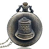 Reloj de Bolsillo de Estilo Antiguo, Reloj de Bolsillo de Cuarzo con Campana de Bronce Steampunk para Hombres y Mujeres, Regalo de Reloj de Bolsillo