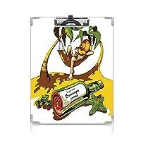 クリップボード A4 ハンモックで若い男のトロピカルなイメージと芸術的な装飾が施されたビーチでボトルに入ったメッセージホワイトグリーンイエロー 子供の贈り物バインダー A4 タテ型 クリップファイル ワードパッド ファイルバインダー 携帯便利