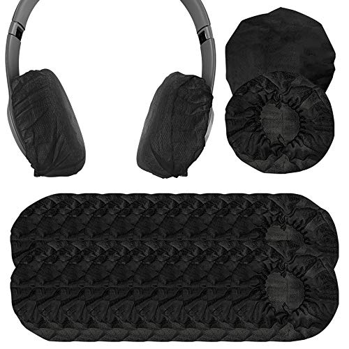 Dehnbare Kopfhörer-Abdeckungen, Einweg-Ohrmuscheln für mittelgroße und große Headsets, 200 Stück (100 Paar) S (4-8) cm 100 Paar (S) - Schwarz