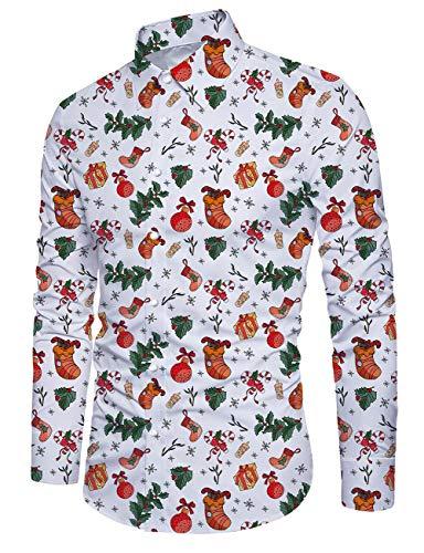 Idgreatim Männer Xmas Hemd Drucken Bunter Rauch Langarm Weihnachten Button Down Hipster Herren Dress Ugly Christmas Shirt