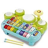 XYZZ 3 en 1 Juguetes de Instrumentos Musicales, batería de xilófono para Teclado de Piano electrónico para niños, plástico ABS Respetuoso con el Medio Ambiente, Ribete humanizado