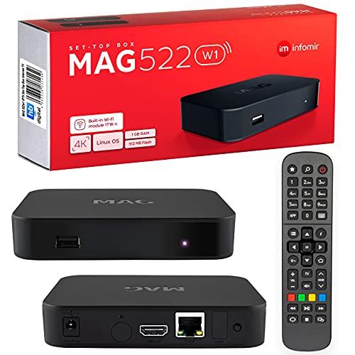 mag 522w1 Original Infomir & HB-DIGITAL 4K IPTV Set Top Box Reproductor Multimedia Internet TV Receptor IP # 4K UHD 60FPS 2160p@60 FPS HDMI 2.0# Soporte HEVC H.256 # Arm Cortex-A53 + Cable HDMI