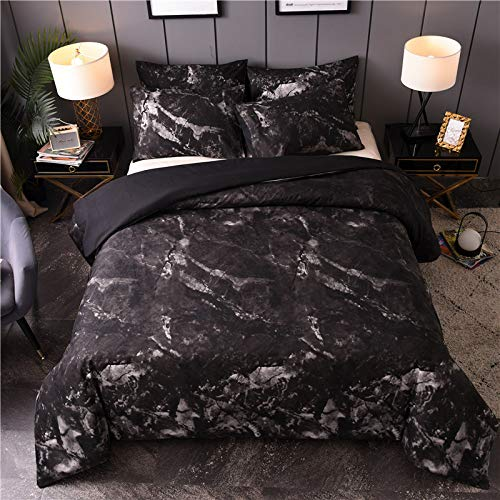 BH-JJSMGS Marbled black and white quilt cover, bedding duvet cover black 175 * 230 (two-piece)