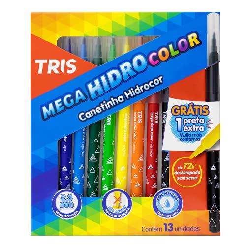 Hidrocor Pf Mega Hidro, Tris, Multicor, pacote de 12