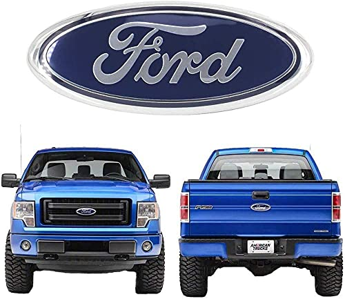 9 Inch Front Grille Rear Tailgate Emblem for Ford, 9'X3.5' Oval Badge Name Plate for 2004-2014 Ford, 2005-2007 F250 F350, 11-14 Edge, 11-16 Explorer, 06-11 Ranger (Blue)
