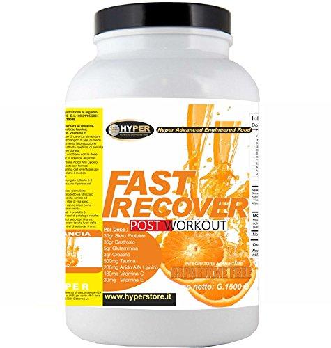 Integratori Recupero Muscolare | FAST RECOVER 1500 gr Arancia | POST WORKOUT | Aumento Massa Muscolare | Per Sport Faticosi | Con Proteine Whey Destrosio Glutammina Creatina Taurina Acido Alfa Lipoico