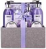 BRUBAKER Cosmetics Set de Baño y Ducha'Lavender & Mint' - Fragancia de Lavanda - Set de regalo de 12 piezas en caja de yute decorativa