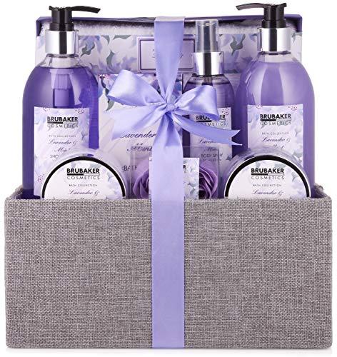 BRUBAKER Cosmetics Bade- und Dusch Set Lavendel Minze Duft - 12-teiliges Geschenkset in dekorativer Jute-Box