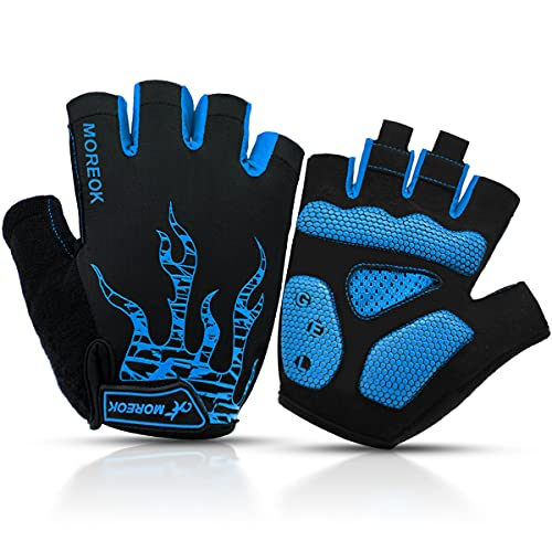 BTNEEU Fingerlose Fahrradhandschuhe mit Gel Mountainbike Handschuhe Halbfinger Männer, Atmungsaktiv Trainingshandschuhe Rennrad Handschuhe Radhandschuhe MTB Handschuhe für Damen Herren (blau, M)