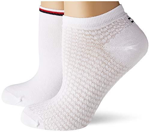 Tommy Hilfiger Womens Waffle Women's Sneaker-Trainer (2 Pack) Socks, White, 39/42
