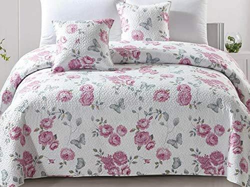Euromat Zweiseitige Tagesdecke Bettüberwurf 3 TLG. 220x240 + 2 Kissenbezüge Tavira Rose Weiß Grau Blumen Calmia