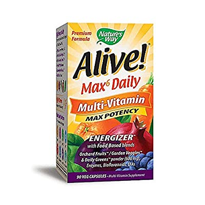 Natures Way Natures Way Alive! Whole Food Energizer Multi Vitamin Max Potency No Added Iron (90 Vegetarian Capsules, No added Iron)