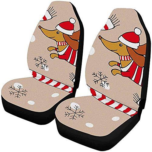 Enoqunt Kerstmis hond tekkel Jersey sjaal kerstmuts sneeuwvlokken voorstoelhoezen auto stoelhoezen voorstoelen passen