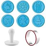 Merkts 6 moldes de silicona para galletitas navideñas, bonitos moldes de silicona de alto grado para galletitas, para Navidad, invierno, accesorios para hornear, color azul