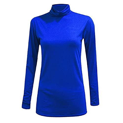 Womens Girls Plain Long Sleeves Polo Turtle Neck Stretchy Slim T-Shirt Top