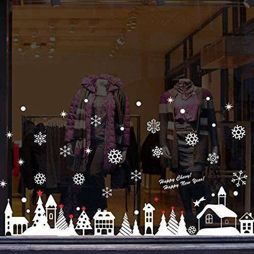 2 unids/Año Nuevo Copos de Nieve Cabaña de Navidad Pegatinas de Pared...